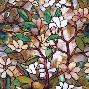 Magnolia Stained Glass Decorative Window Film